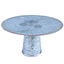 CAKE STAND WITH GOLD BEAD EDGE, GALVANIZED