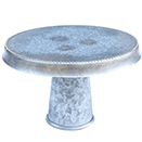 CAKE STAND WITH GOLD BEAD EDGE, DOWNWARD LIP, GALVANIZED