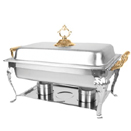 BRASS HANDLES RECTANGULAR CHAFER, LIFT OFF LID, STAINLESS