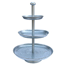 DISPLAY STAND WITH GOLD BEADED EDGE TRAYS, 3 TIER, GALVANIZED