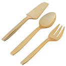 SERVING UTENSILS, GOLD DISPOSABLE PLASTIC