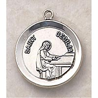 Saint Cecilia Medal - In Sterling Silver