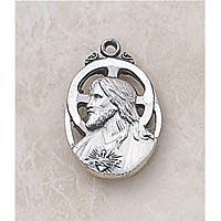 Sacred Heart Scapular Medal - In Sterling Silver