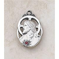 Scapular Medal with Ruby - In Sterling Silver