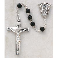 Black Wood Rosary In Sterling Silver