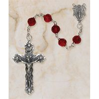 Ruby Bead Austrian Crystal Creed Rosary - for Catholic Women