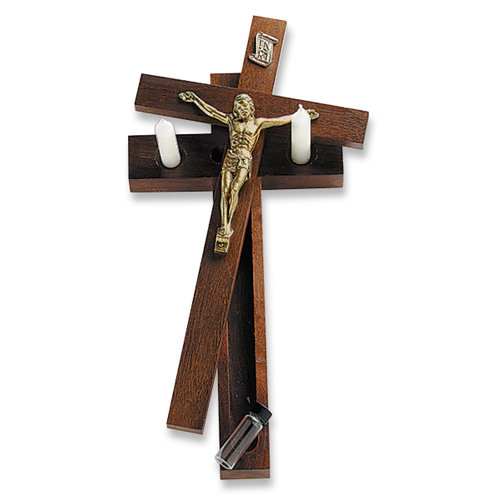 Hanging Sick Call Crucifix - in Walnut Finish