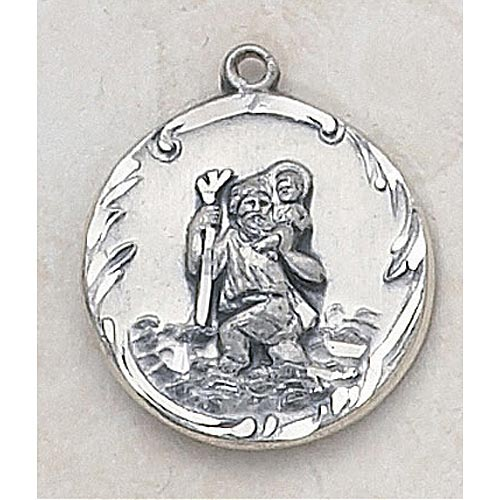 Saint Christopher Medal In Sterling Silver