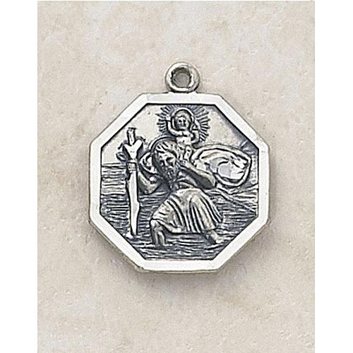 Octagon Saint Christopher Medal -  In Sterling Silver