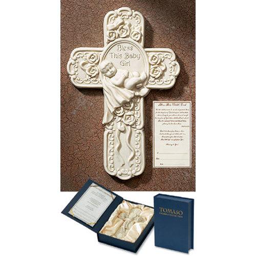 Baptism Cross for Catholic Baby GIrls