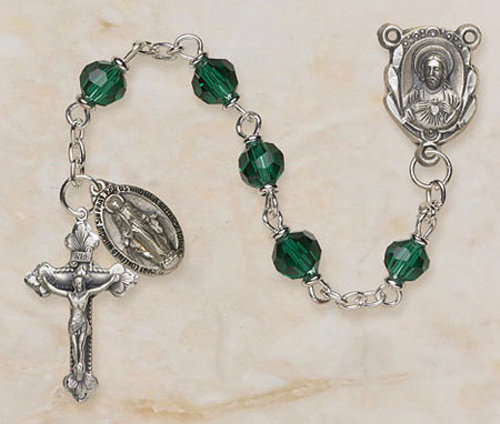 Emerald Rosary with Miraculous Medal