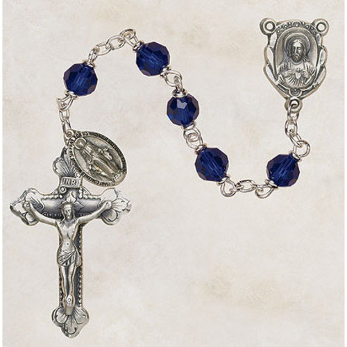 Sapphire Rosary with Miraculous Medal