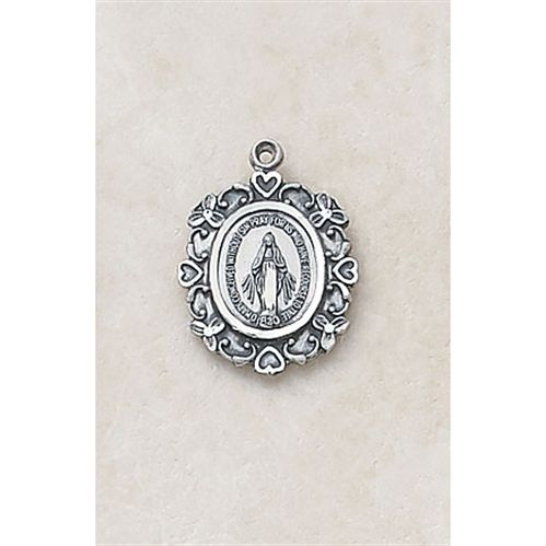 Hearts and Flowers - Sterling Miraculous Medal