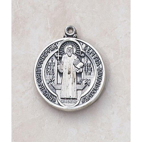 Saint Benedict Catholic Medal - in Sterling Silver