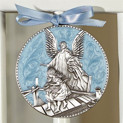Guardian Angel Crib Medal for Boys