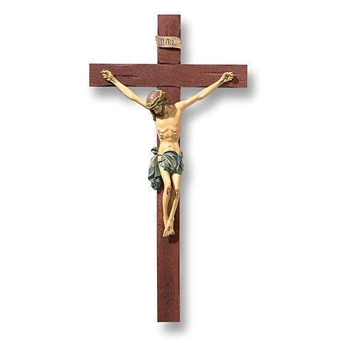 "Hand Painted Wall Crucifix 13"" Long"