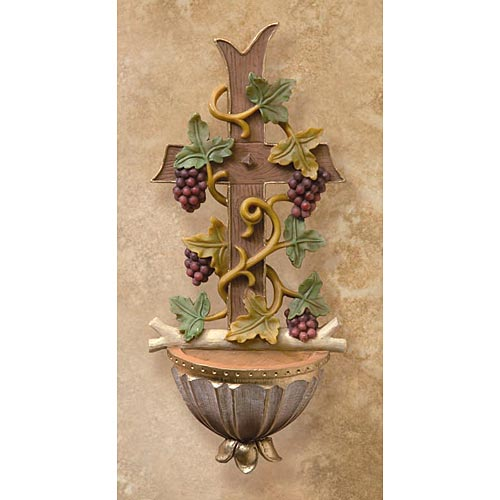 Cross and Grapes Holy Water Font