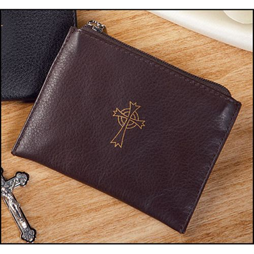 Brown Leather - Zippered Rosary Case