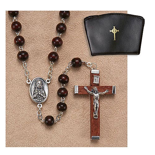 Men's Brown Wood Rosary - 6mm for Catholics