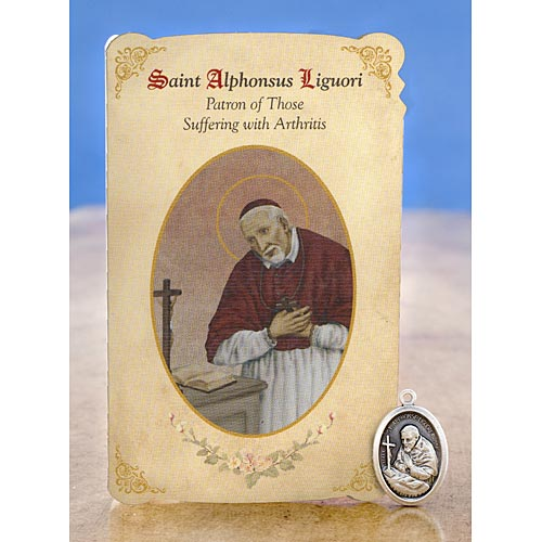 Saint Alphonsus Liguori - Holy Card with Medal