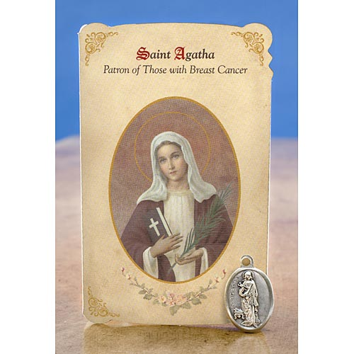 Saint Agatha Holy Card with Medal