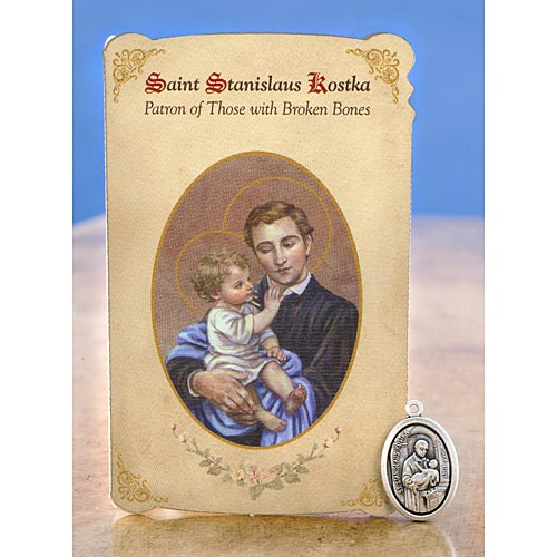 Saint Stanislaus Kostka Holy Card with Medal
