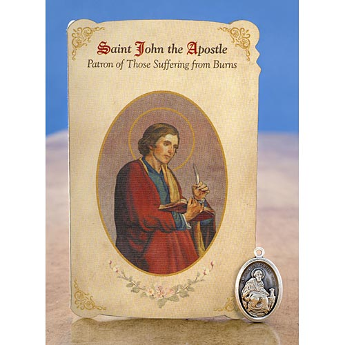 Saint John the Apostle Holy Card with Medal