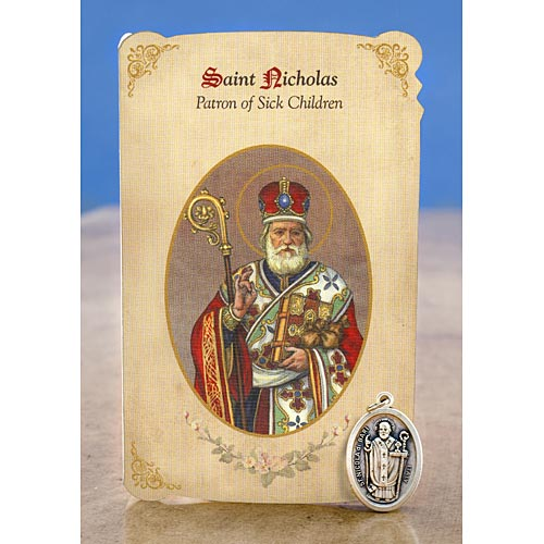 Saint Nicholas Holy Card with Medal