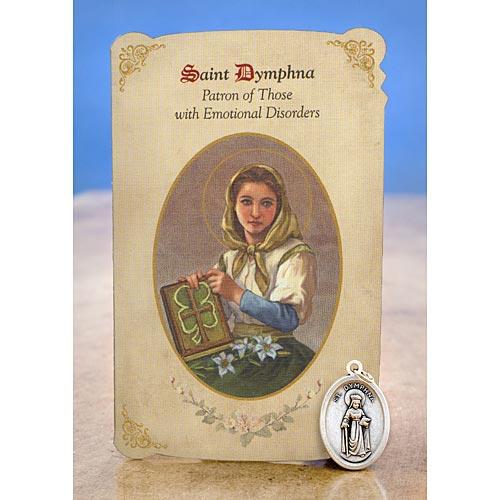 Saint Dymphna Holy Card with Medal