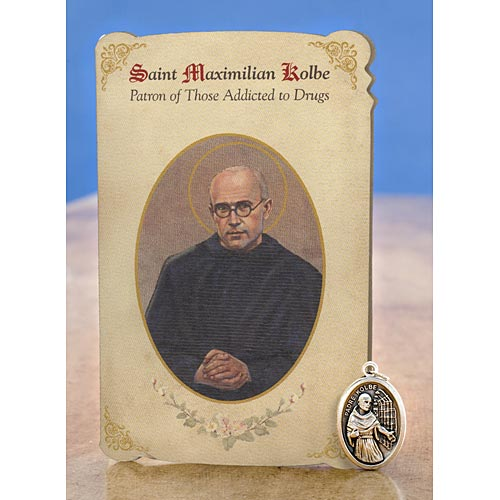 Saint Maximilian Kolbe Holy Card with Medal