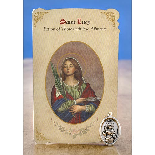 Saint Lucy (Vision Ailments) Holy Card with Medal