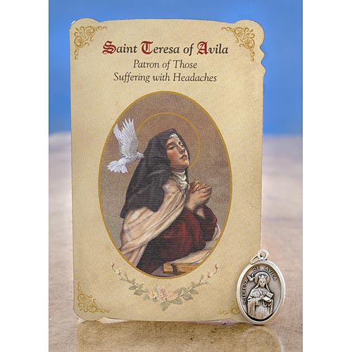 Saint Teresa of Avila Holy Card with Medal