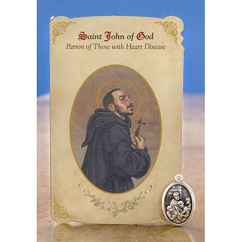 St. John of God (Heart Disease) Holy Card w/ Medal