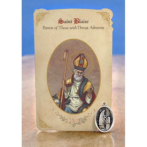 St. Blaise (Throat Ailments) Holy Card w/ Medal