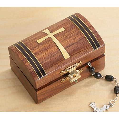 Tapered Cross Wood Rosary Box