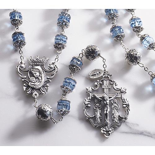 Double Capped Bead - Austrian Crystal Aurora Rosary