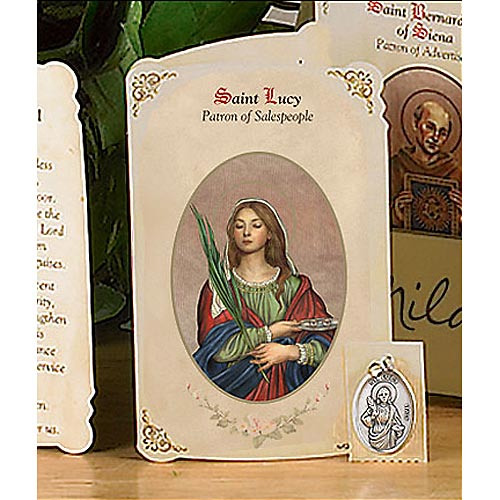 Saint Lucy Holy Card and Medal