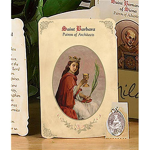 Saint Barbara Holy Card and Medal