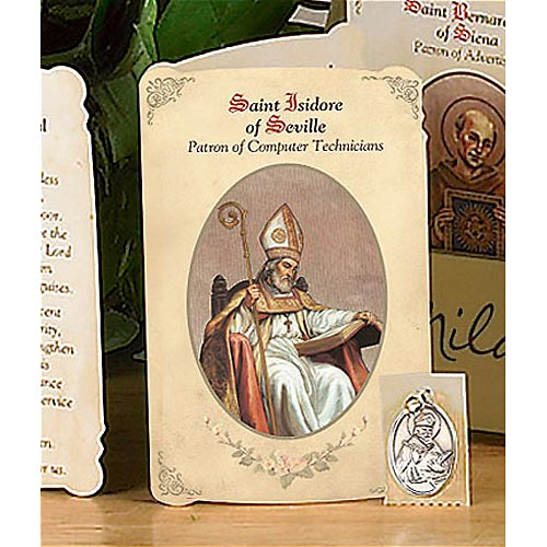 Saint Isidore of Seville Holy Card and Medal