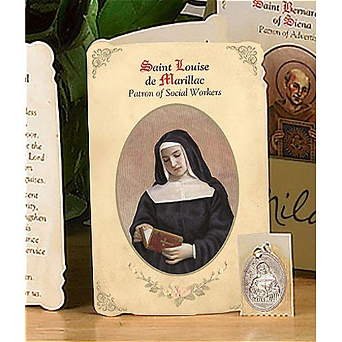 Saint Louise of Marillac Holy Card and Medal