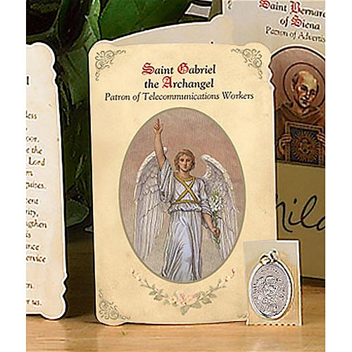Saint Gabriel Holy Card and Medal