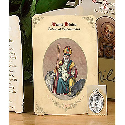 Saint Blaise Holy Card and Medal