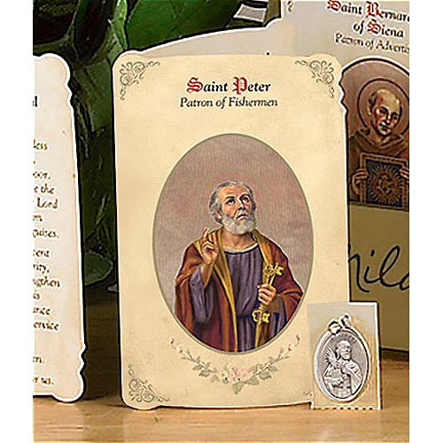 Saint Peter the Apostle Holy Card and Medal