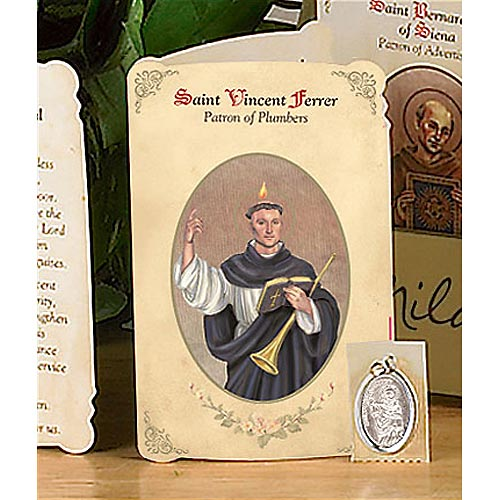 Saint Vincent Ferrer Holy Card and Medal