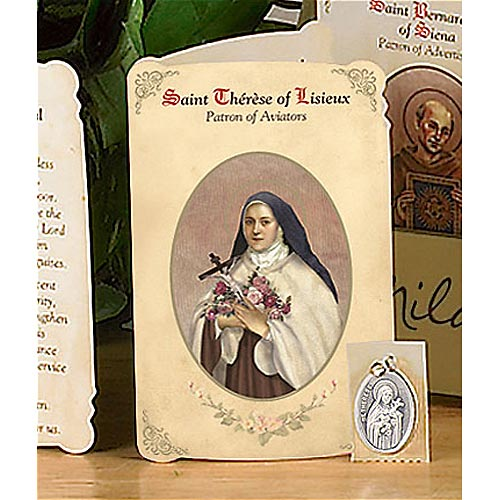 Saint Therese of Lisieux Holy Card and Medal