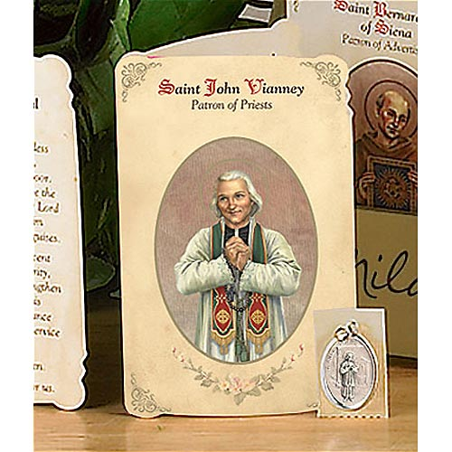 Saint John Vianney Holy Card and Medal