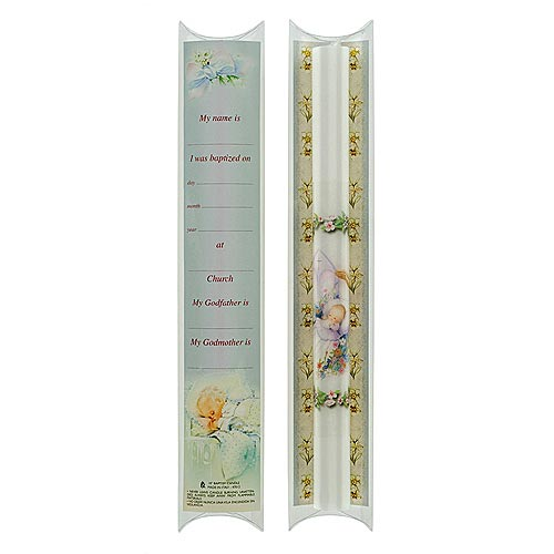 "Baptismal Candle with Certificate - 10"" Length"