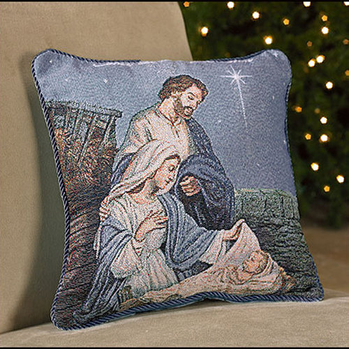Nativity Tapestry Throw Pillow