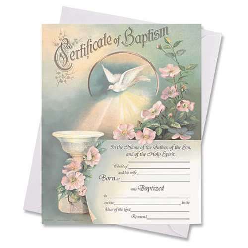 In One Spirit Baptism Certificates 50/package