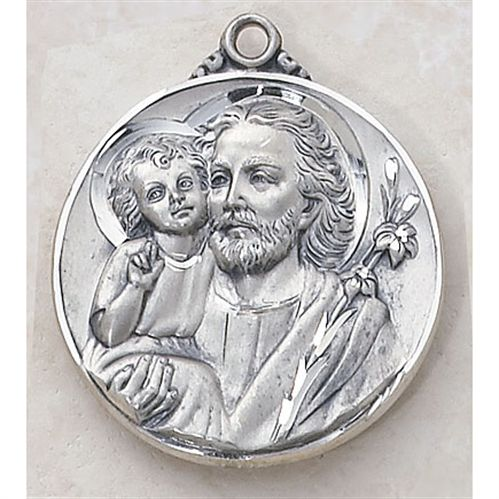 Saint Joseph Catholic Medal - In Sterling Silver